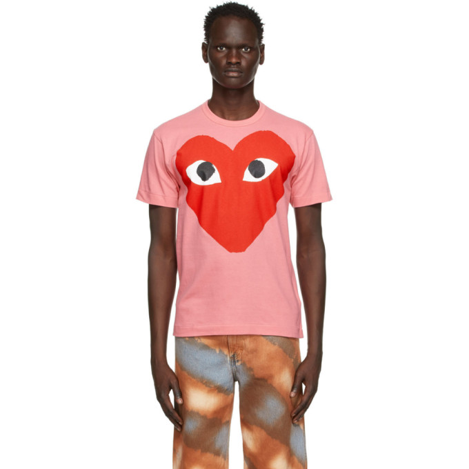 Comme Des Garçons Play COMME DES GARCONS PLAY PINK AND RED BIG HEART T-SHIRT