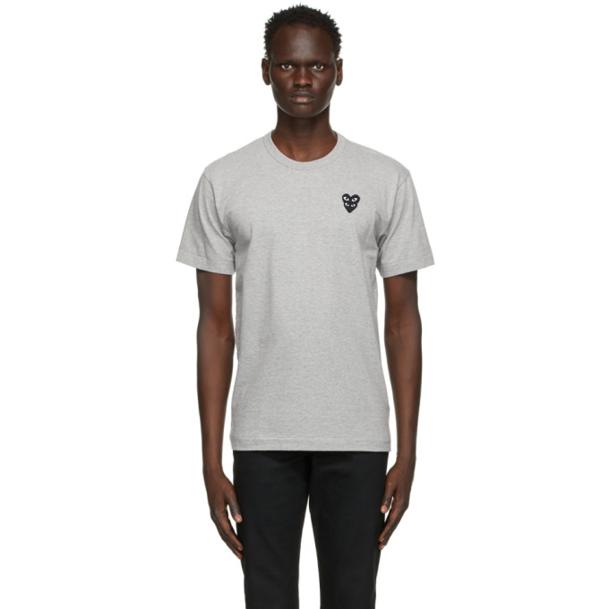 Comme Des Garçons Play COMME DES GARCONS PLAY GREY AND BLACK LAYERED HEART PATCH T-SHIRT