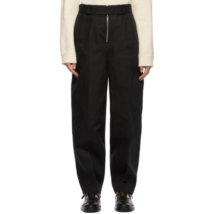 Jil Sander Zipped Cotton-twill Tapered-leg Trousers In 001 Black