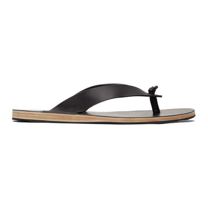 JIL SANDER JIL SANDER BLACK LEATHER SANDALS