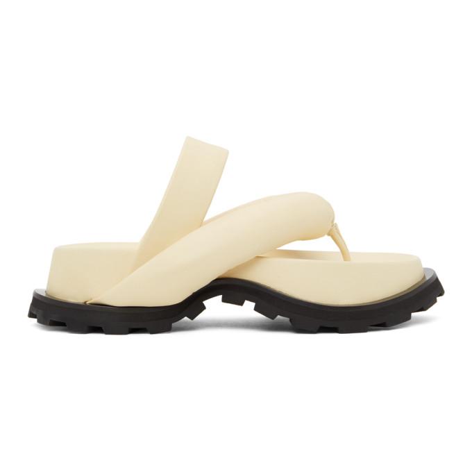 Jil Sander Leathers JIL SANDER OFF-WHITE OVERSIZE STRAP SANDALS