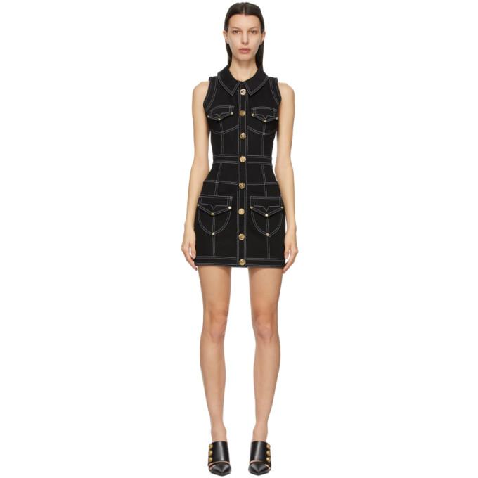 Balmain BALMAIN BLACK DENIM SHORT DRESS