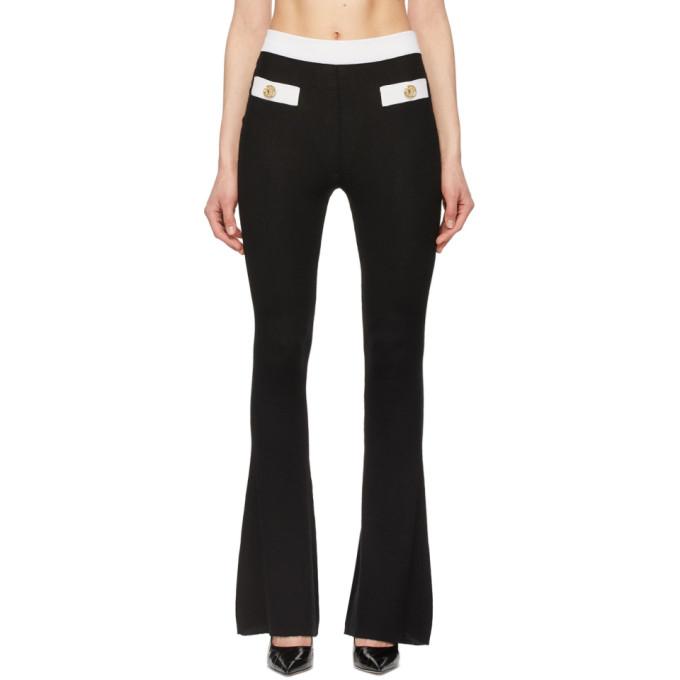 Balmain Silks BALMAIN BLACK AND WHITE CASHMERE RIB KNIT LOUNGE PANTS