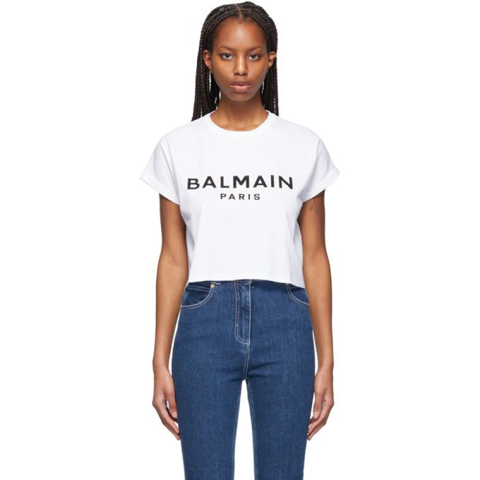 Balmain Cottons BALMAIN WHITE CROPPED LOGO T-SHIRT