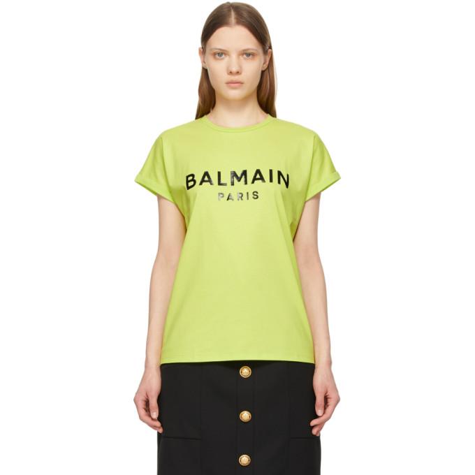 Balmain Cottons BALMAIN GREEN LOGO T-SHIRT