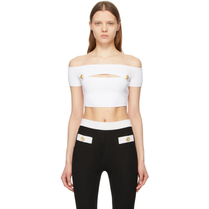 Balmain White Off-the-shoulder Cropped Tank Top In 0fa Blanc