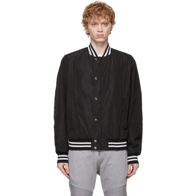 Balmain Bomber jackets BALMAIN BLACK AND WHITE LOGO BOMBER JACKET