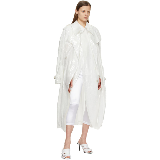 JUNYA WATANABE Trenchcoats JUNYA WATANABE WHITE SEQUIN ORGANDY DOUBLE-BREASTED TRENCH COAT
