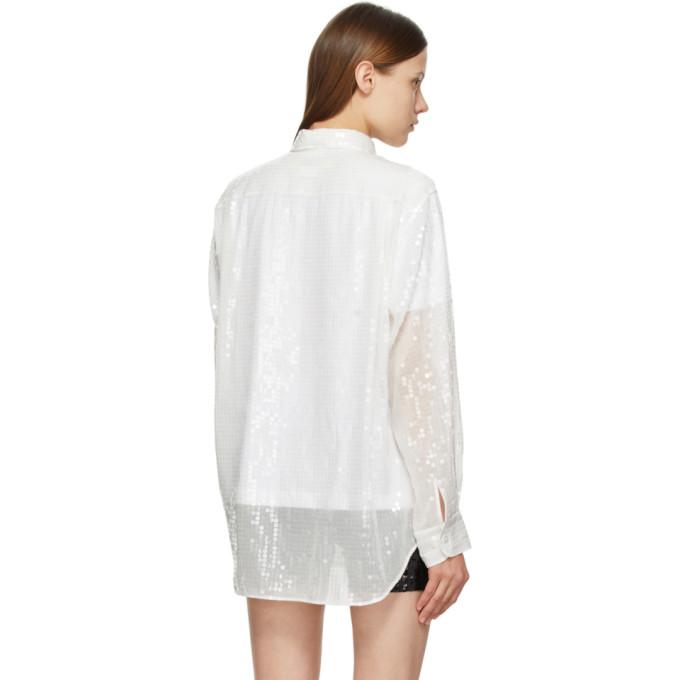 JUNYA WATANABE Shirts JUNYA WATANABE WHITE SEQUIN SHIRT