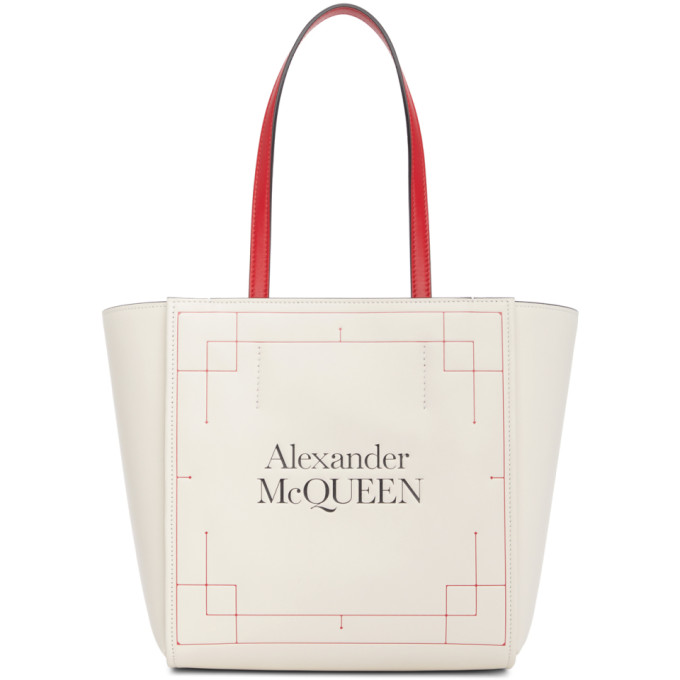 Alexander Mcqueen ALEXANDER MCQUEEN WHITE LEATHER SIGNATURE SHOPPER TOTE