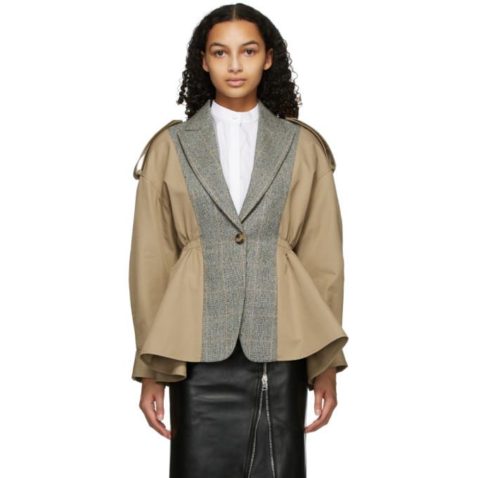 Alexander McQueen Alexander McQueen Beige Gabardine Spliced Jacket