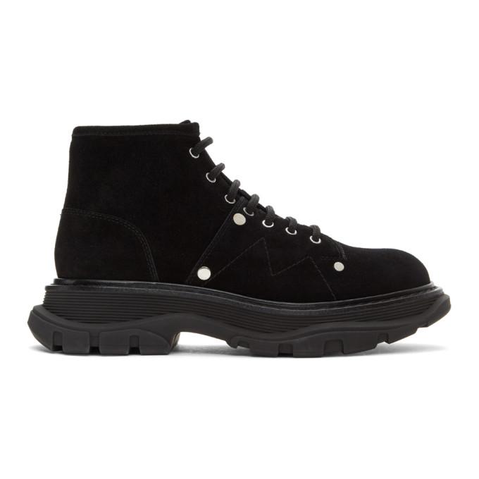 Alexander McQueen 黑色 Tread 绒面革踝靴
