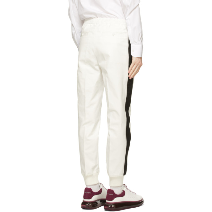ALEXANDER MCQUEEN Pants ALEXANDER MCQUEEN WHITE COTTON STRIPE TROUSERS