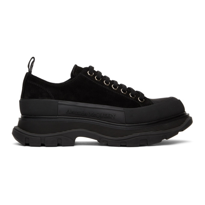 Alexander McQueen 黑色 Tread Slick 绒面革运动鞋