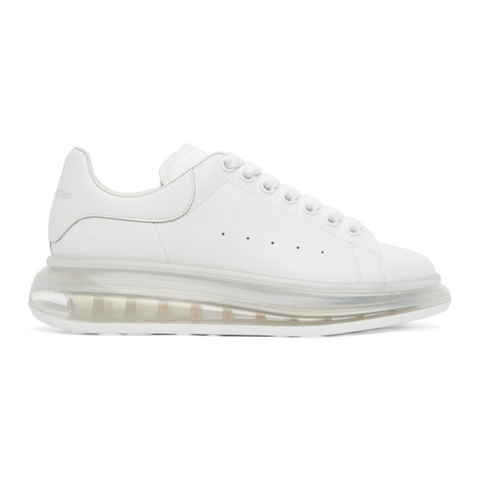 Alexander Mcqueen Leathers ALEXANDER MCQUEEN WHITE TRANSPARENT SOLE OVERSIZED SNEAKERS
