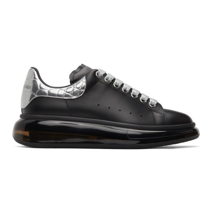 Alexander McQueen SSENSE 独家发售黑色 Clear Sole 鳄鱼纹阔型运动鞋