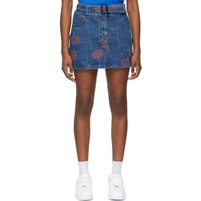 Opening Ceremony OPENING CEREMONY BLUE DENIM ALLOVER ROSES MINISKIRT