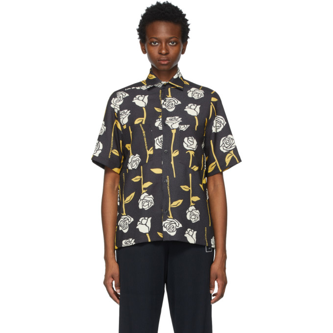Opening Ceremony OPENING CEREMONY BLACK ALLOVER ROSES SHORT SLEEVE SHIRT