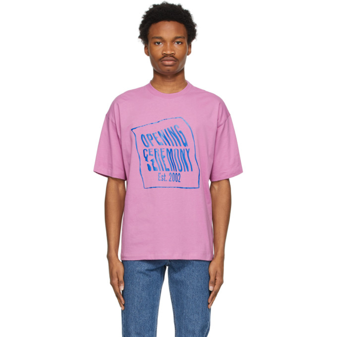 Opening Ceremony Cottons OPENING CEREMONY PINK WARPED LOGO T-SHIRT