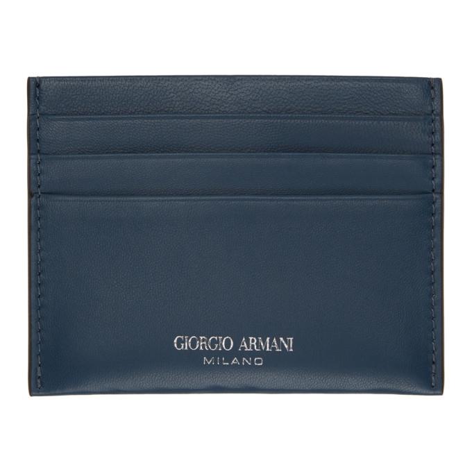 Giorgio Armani ネイビー ロゴ カード ケース