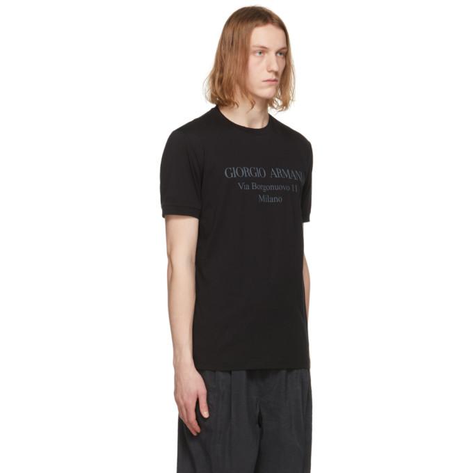 GIORGIO ARMANI T-shirts GIORGIO ARMANI BLACK BORGONUOVO T-SHIRT