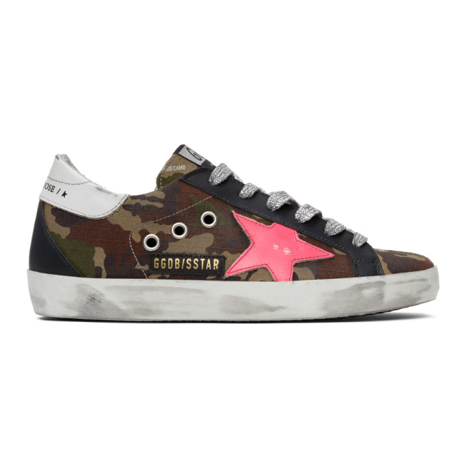 Golden Goose Leathers GOLDEN GOOSE GREEN AND PINK CAMO SUPERSTAR SNEAKERS