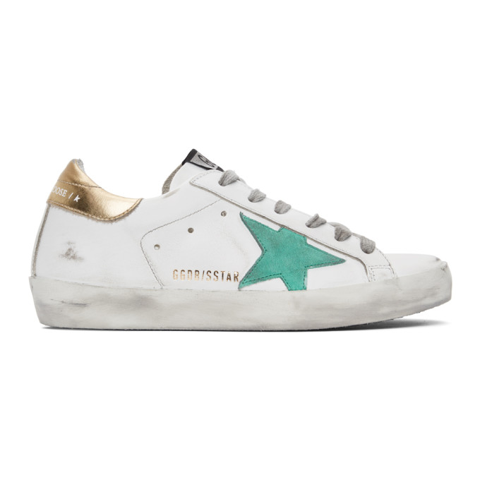 GOLDEN GOOSE GOLDEN GOOSE WHITE AND GREEN SUPERSTAR SNEAKERS