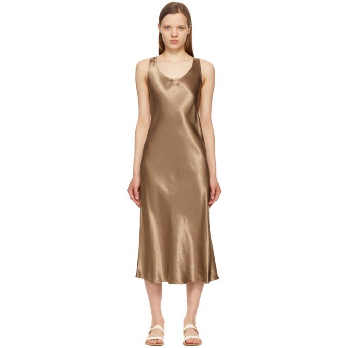 Max Mara Dresses MAX MARA LEISURE TAUPE SATIN TALETE DRESS