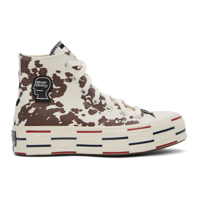 Brain Dead BRAIN DEAD OFF-WHITE AND BLACK CONVERSE EDITION COW CHUCK 70 HIGH SNEAKERS
