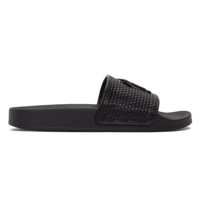Giuseppe Zanotti Men's Geometric-print Leather Slide Sandals In Black