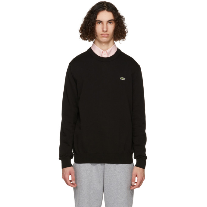 Lacoste Men's Organic Cotton Crew Neck Sweater In 031 Black