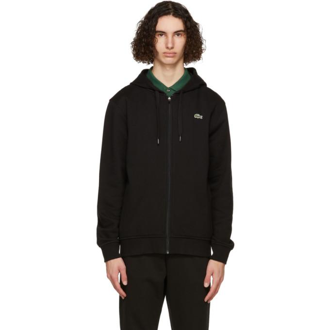 Lacoste Men's Sport Hooded Lightweight Bi-material Sweatshirt In C31 Black