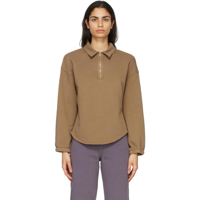 Raquel Allegra Brown Fleece Vintage Collar Sweatshirt