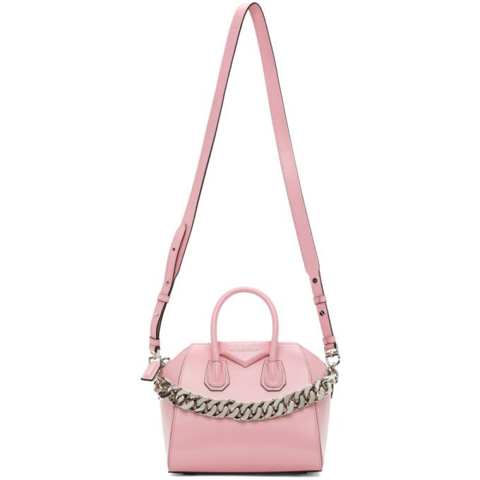 Givenchy Leathers GIVENCHY PINK CHAIN MINI ANTIGONA BAG