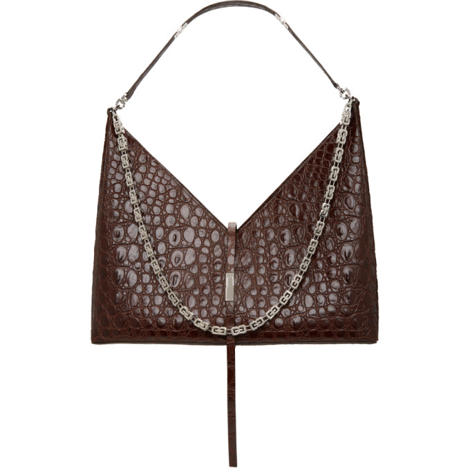 Givenchy GIVENCHY BROWN CROC LARGE CUT OUT WITH CHAIN BAG