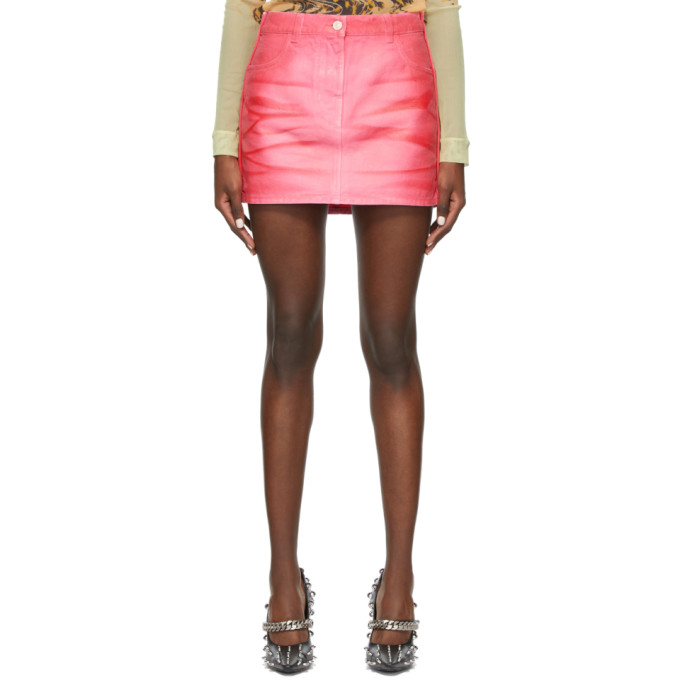 Givenchy Zipped Denim Skirt In Fuchsia In 650 Pink