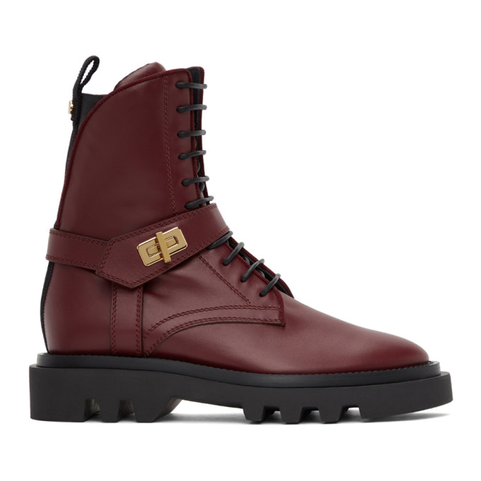 Givenchy Women's Eden Leather Combat Boots In 604-burgundy
