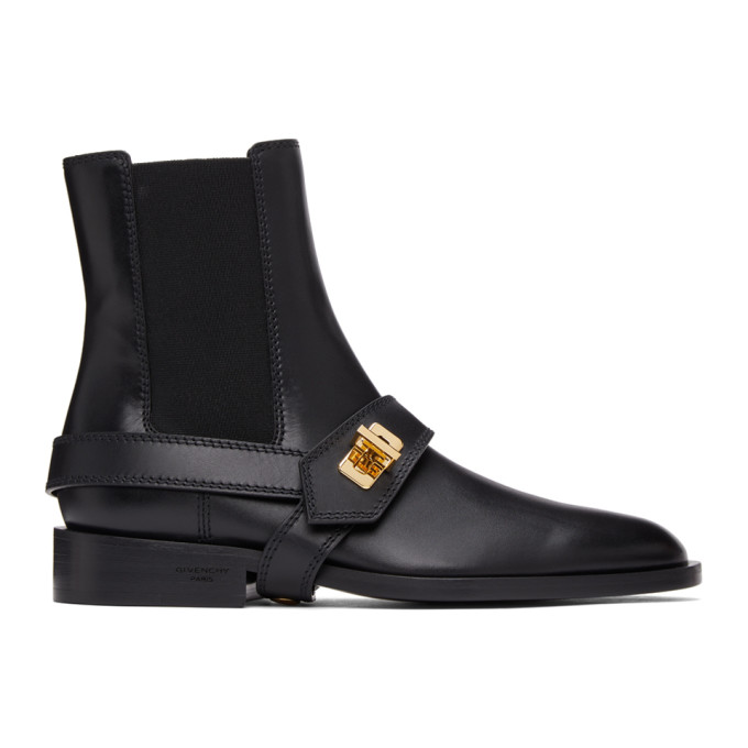 Givenchy Eden Buckle-detailed Leather Chelsea Boots In Black
