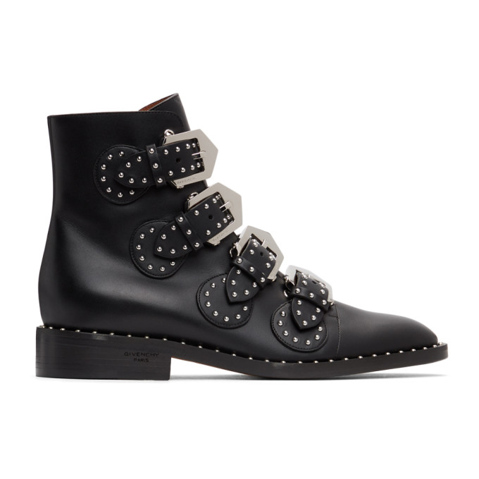 GIVENCHY GIVENCHY BLACK ELEGANT STUDS ANKLE BOOTS