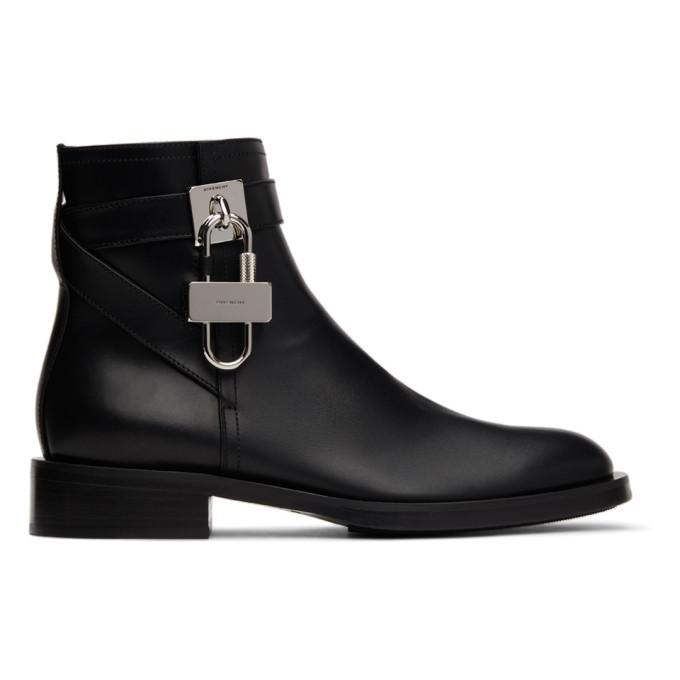 Givenchy Black Flat Padlock Boots In 001 Black