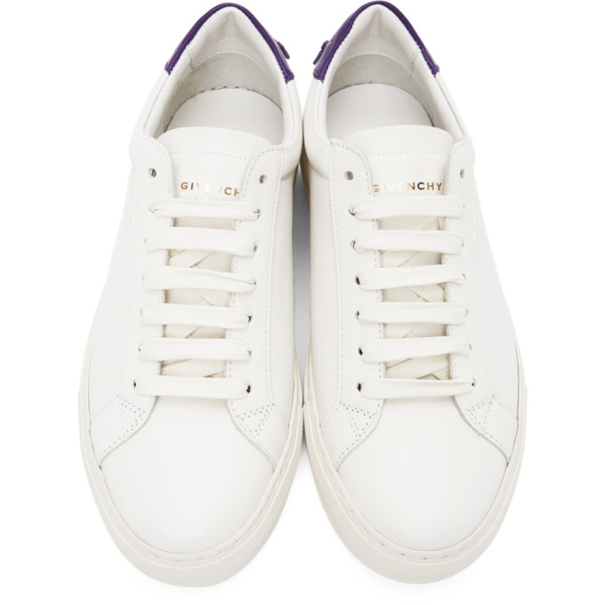 GIVENCHY Leathers GIVENCHY WHITE AND PURPLE URBAN KNOTS SNEAKERS