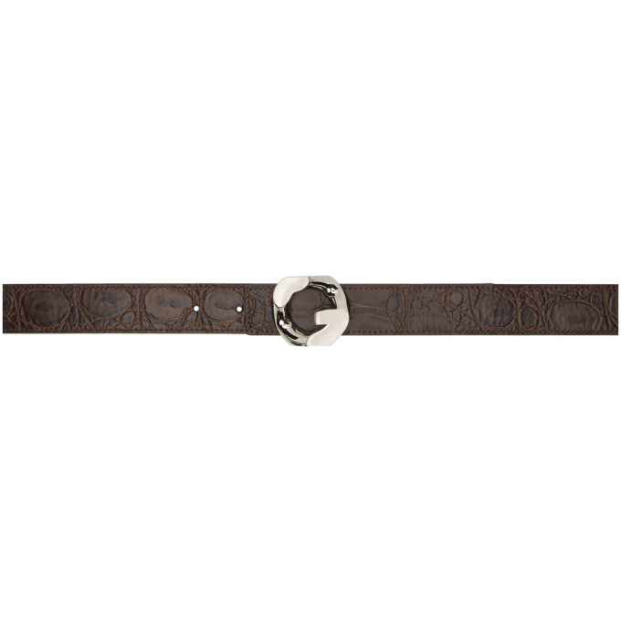 Givenchy GIVENCHY REVERSIBLE BROWN CROC G BELT