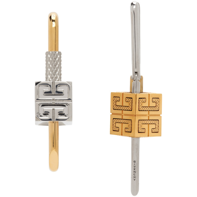 GIVENCHY Earrings GIVENCHY GOLD AND SILVER LOCK ASYMMETRICAL EARRINGS