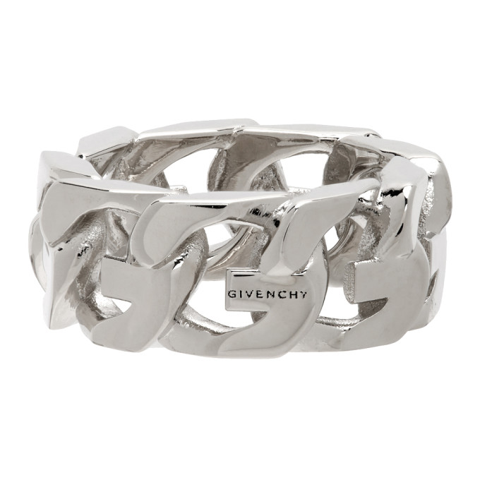 Givenchy Rings GIVENCHY SILVER G CHAIN RING