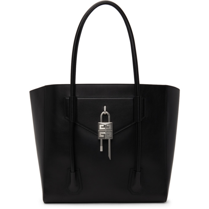 Givenchy Leathers GIVENCHY BLACK SOFT PADLOCK LARGE ANTIGONA TOTE