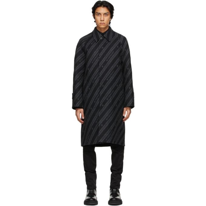 Givenchy Silks GIVENCHY REVERSIBLE BLACK AND GREY WOOL CHAIN COAT