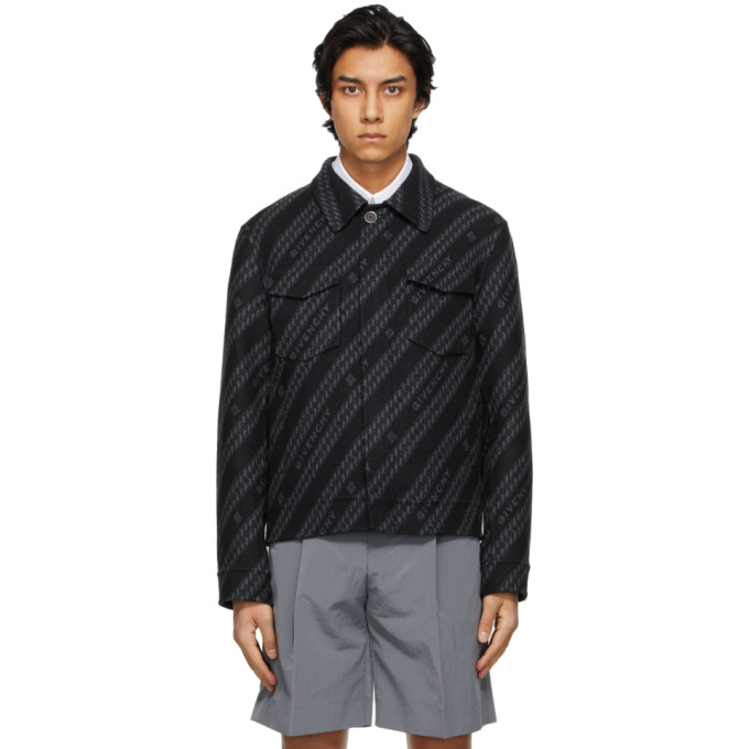 Givenchy Black and Grey Wool Chain Blouson Jacket
