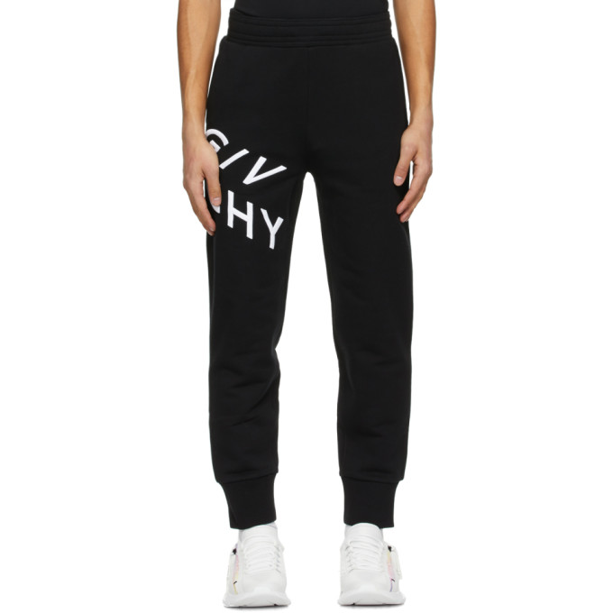 Givenchy Black Embroidered Refracted Logo Sweatpants