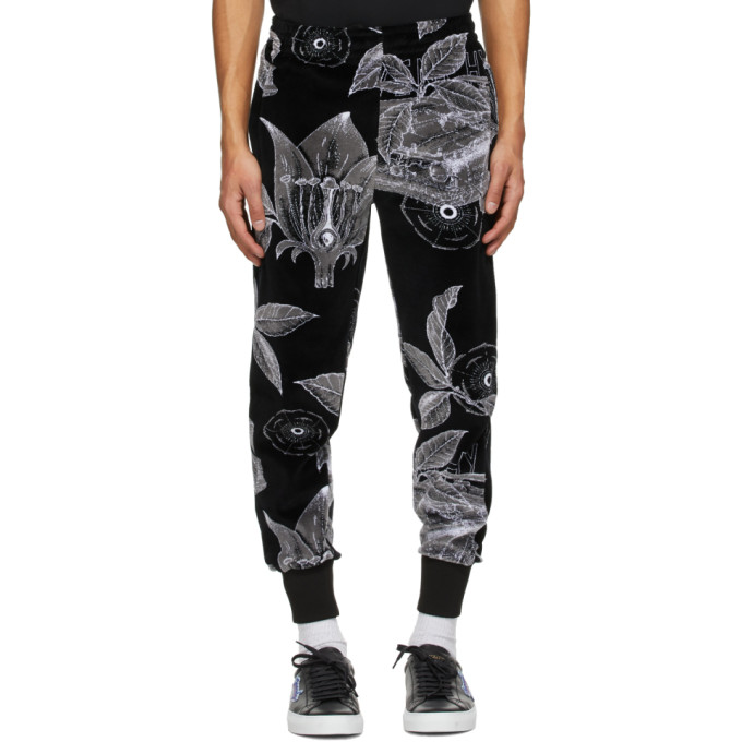 Givenchy GIVENCHY BLACK VELVET FLORAL SCHEMATICS LOUNGE PANTS