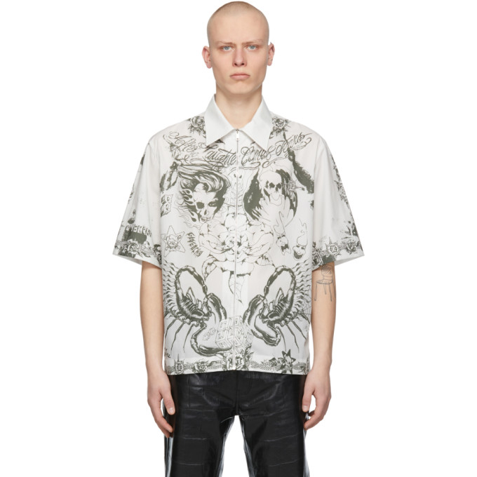 Givenchy Cottons GIVENCHY TAUPE POPLIN PRINTED SHORT SLEEVE SHIRT
